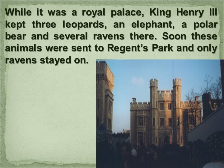 While it was a royal palace, King Henry III kept three leopards, an elephant,...