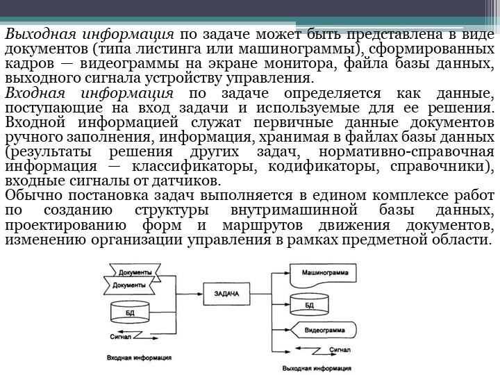 Выходная информацияпо задаче может быть представлена в виде документов (типа...