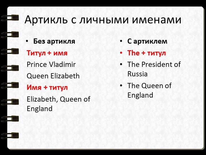 Без артикляТитул + имяPrince VladimirQueen ElizabethИмя + титулElizabeth...