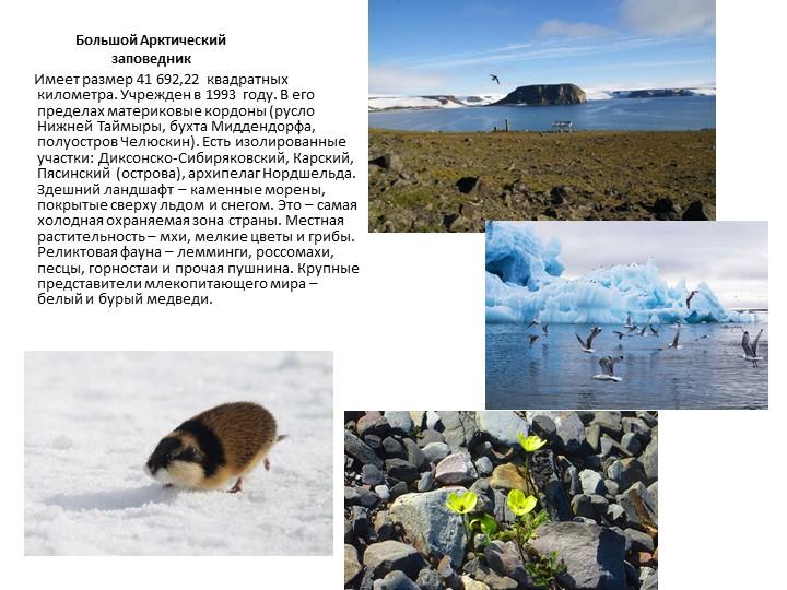 Большой Арктический заповедник       Имеет размер 41692,22 квадратных кило...