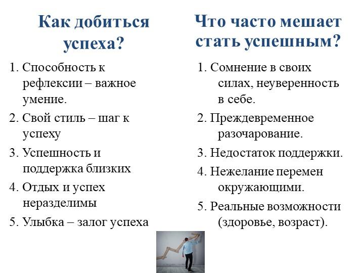 Как добиться успеха?1. Способность к рефлексии – важное умение.2. Свой стиль...