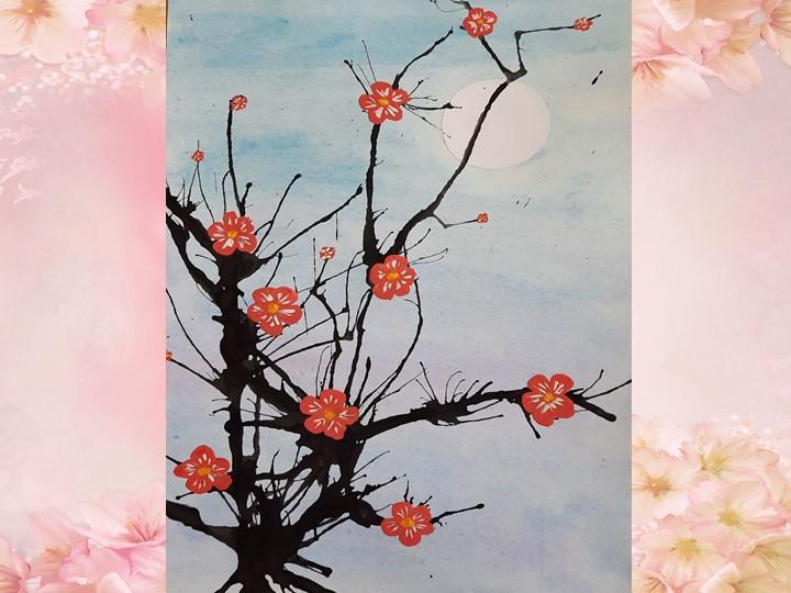 """3.   """"Печатаем"""" цветки. На политре разводим красную (малиновую) и белую гуаш..."""