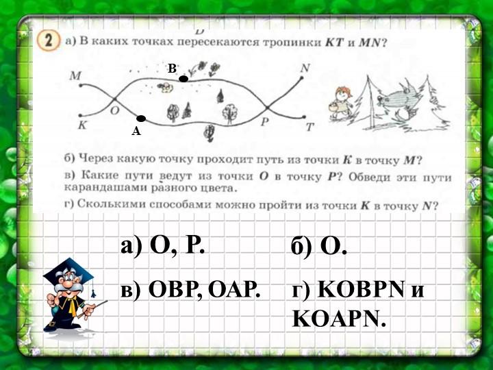 а) О, Р.б) О.в) ОВР, ОАР. г) KOBPN и KOAPN. ВА
