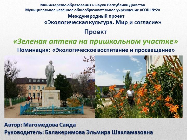 Автор: Магомедова СаидаРуководитель: Балакеримова Эльмира Шахламазовна Минис...