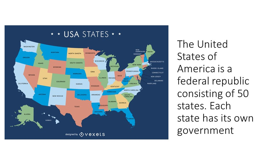 The United States of America is a federal republic consisting of 50 states....