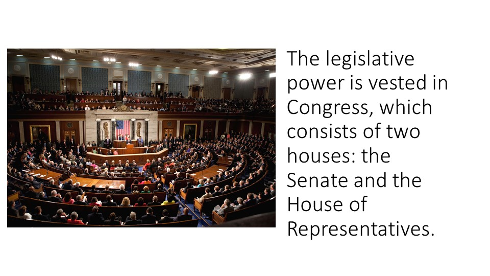 The legislative power is vested in Congress, which consists of two houses: th...