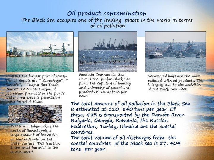 Oil product contaminationThe Black Sea occupies one of the leading  places i...