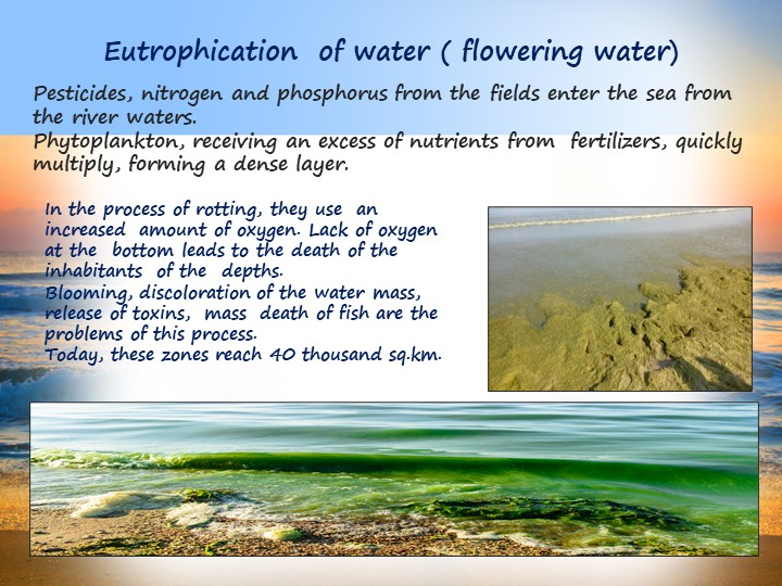 Eutrophication  of water ( flowering water)Pesticides, nitrogen and phosph...