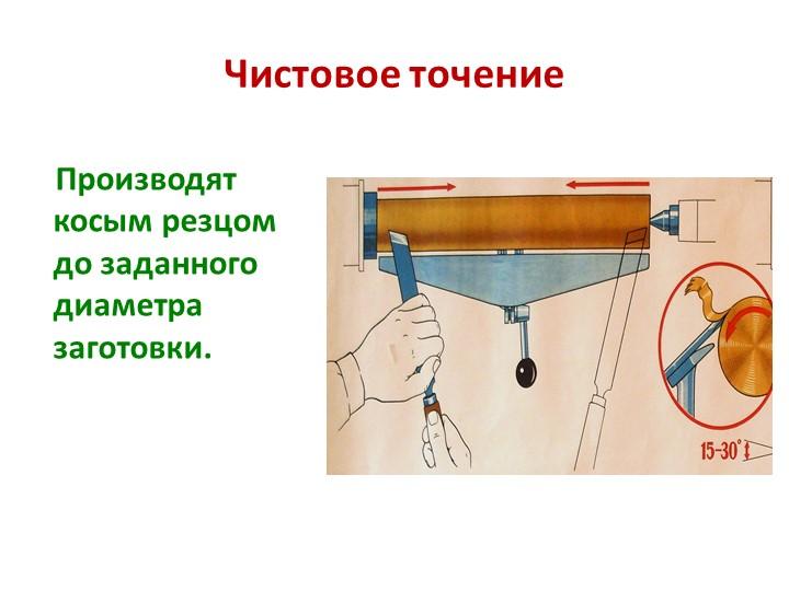 Чистовое точение    Производят косым резцом до заданного диаметра заготовки.