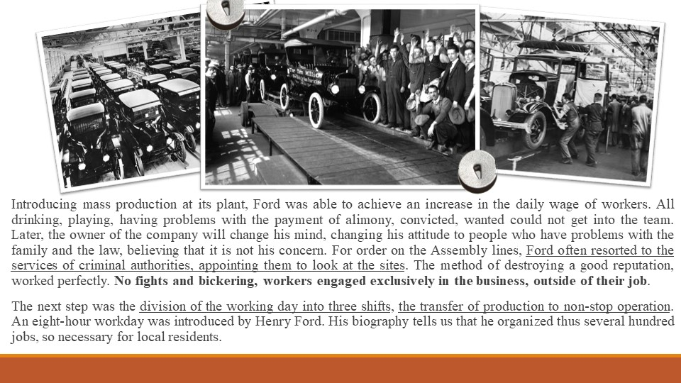 Introducing mass production at its plant, Ford was able to achieve an increas...