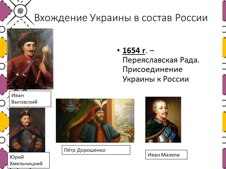 Вхождение Украины в состав России1654 г. – Переяславская Рада. Присоединение...