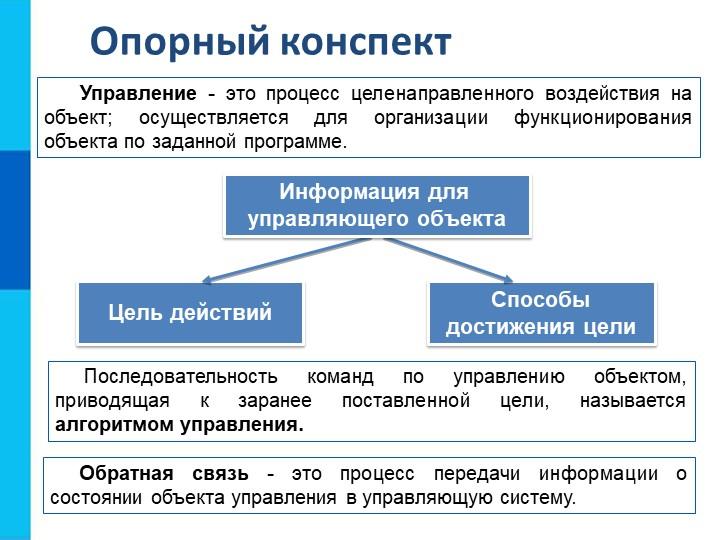 Опорный конспектУправление - это процесс целенаправленного воздействия на объ...