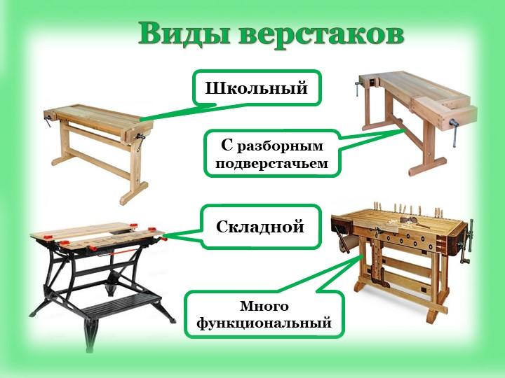 СкладнойМногофункциональныйС разборным подверстачьемШкольныйВиды верстаков