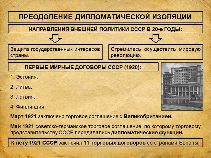 ПРЕОДОЛЕНИЕ ДИПЛОМАТИЧЕСКОЙ ИЗОЛЯЦИИНАПРАВЛЕНИЯ ВНЕШНЕЙ ПОЛИТИКИ СССР В 20-е...