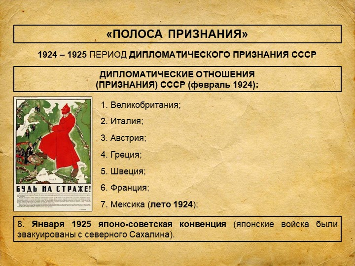 «ПОЛОСА ПРИЗНАНИЯ»1924 – 1925 ПЕРИОД ДИПЛОМАТИЧЕСКОГО ПРИЗНАНИЯ СССРДИПЛОМАТИ...