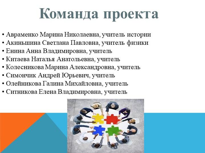 Команда проекта  Авраменко Марина Николаевна, учитель истории Акиньшина...