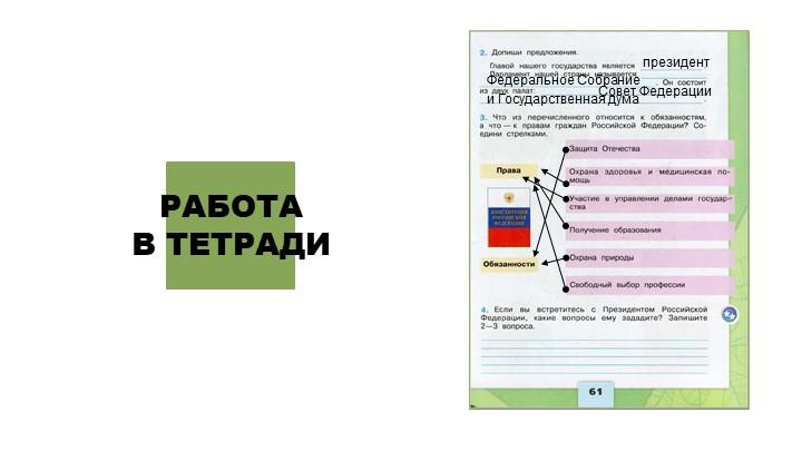 РАБОТА В ТЕТРАДИпрезидентФедеральное СобраниеСовет Федерациии Государственна...