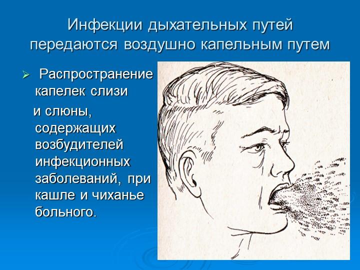 Инфекции дыхательных путей передаются воздушно капельным путем Распространени...
