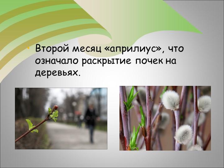 Второй месяц «априлиус», что означало раскрытие почек на деревьях.