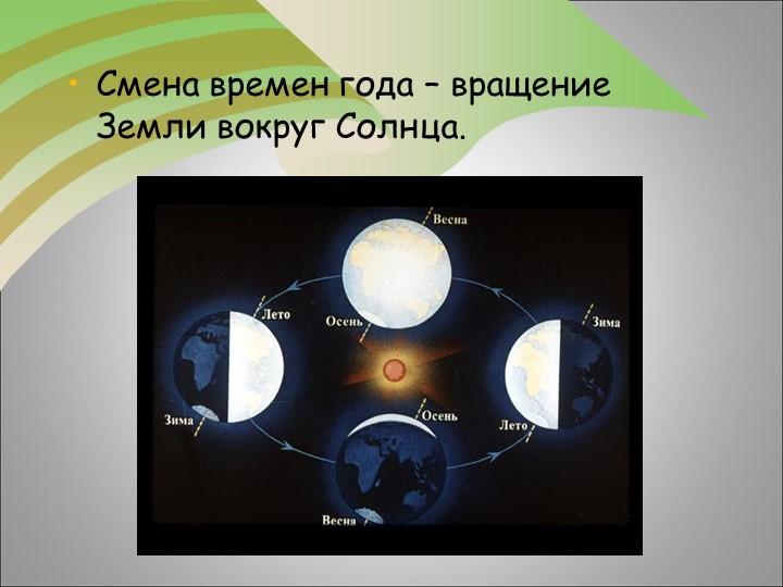Смена времен года – вращение Земли вокруг Солнца.