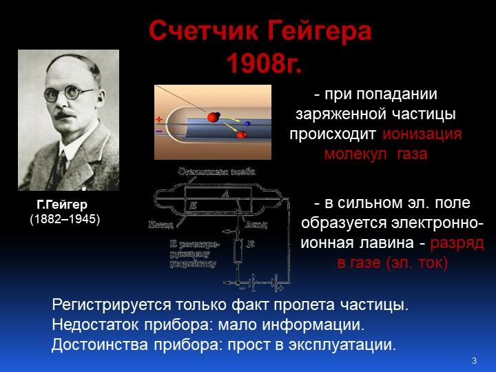 Г.Гейгер  (1882–1945)Счетчик Гейгера 1908г.- при попадании заряженной части...