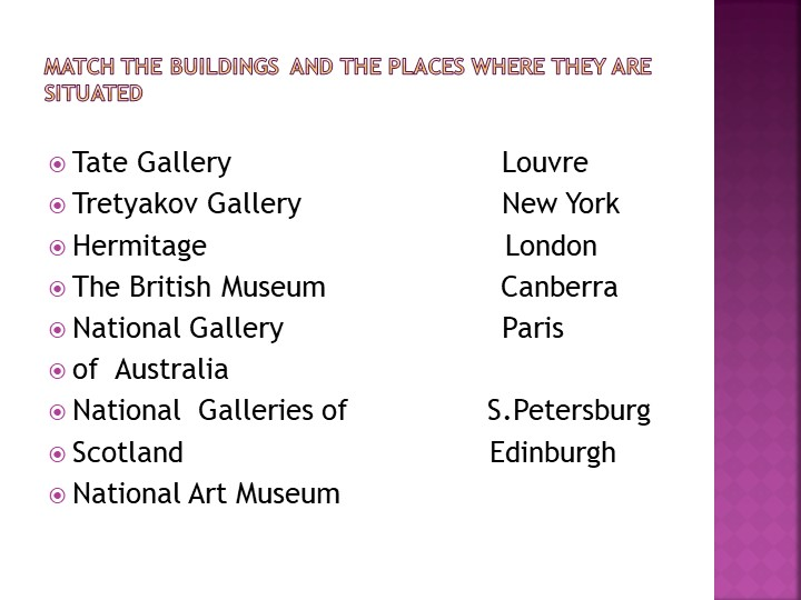 Match the buildings  and the places where they are situatedTate Gallery...