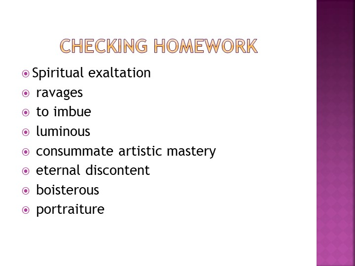 Checking homeworkSpiritual exaltation ravages to imbue luminous co...