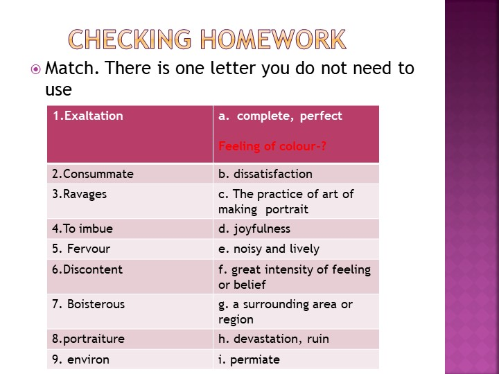Checking homeworkMatch. There is one letter you do not need to use