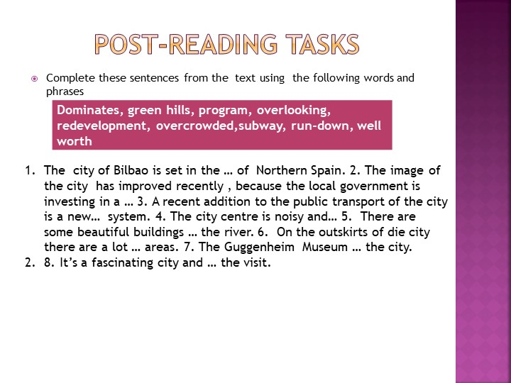Post-Reading tasksComplete these sentences from the  text using  the...