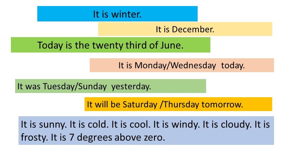 It is winter.It is December.Today is the twenty third of June. It is Monday/W...