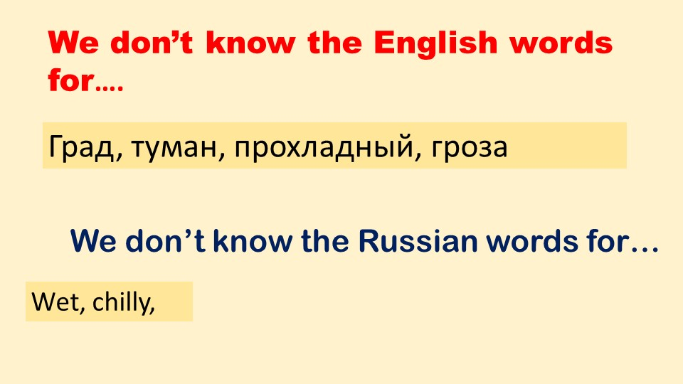We don't know the English words for….We don't know the Russian words for…Град...