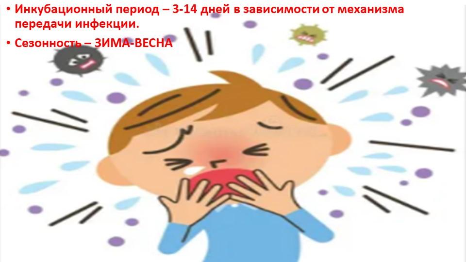 Инкубационный период – 3-14 дней в зависимости от механизма передачи инфекции...