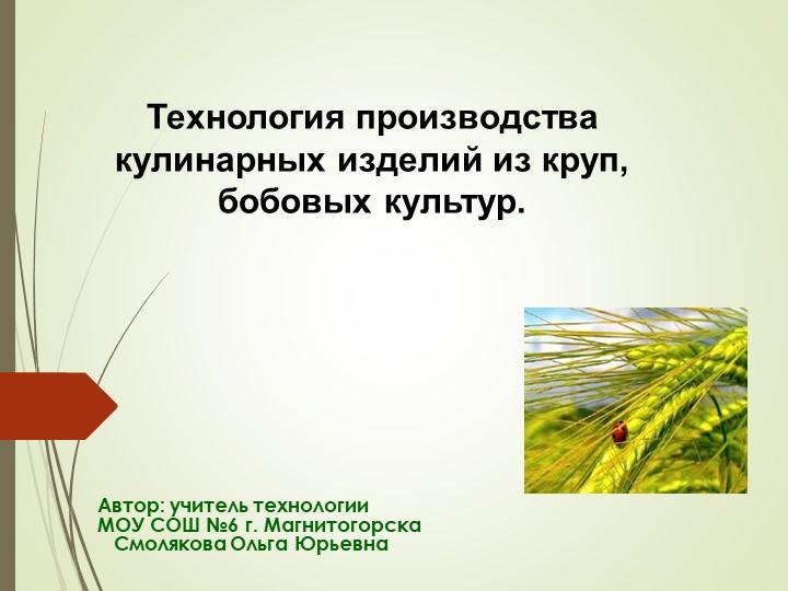 Автор: учитель технологииМОУ СОШ №6 г. Магнитогорска   Смолякова Ольга Юрье...