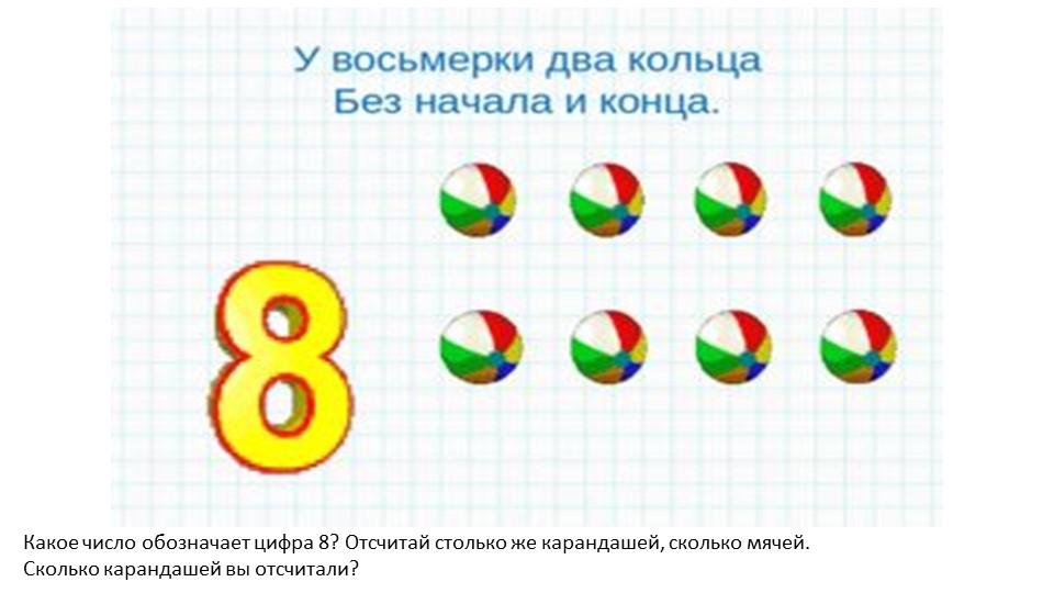 Какое число обозначает цифра 8? Отсчитай столько же карандашей, сколько мячей...