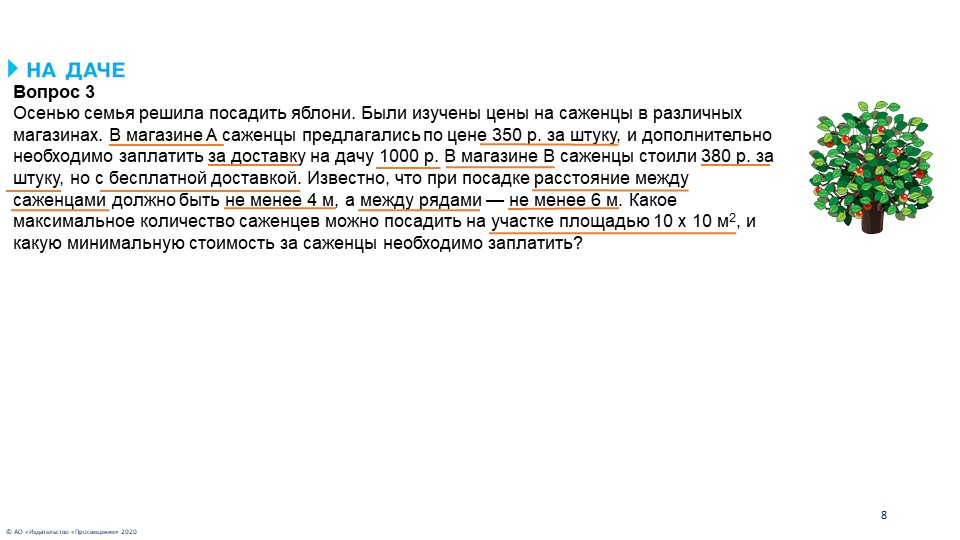 © АО «Издательство «Просвещение» 20208Вопрос 3Осенью семья решила посадить я...