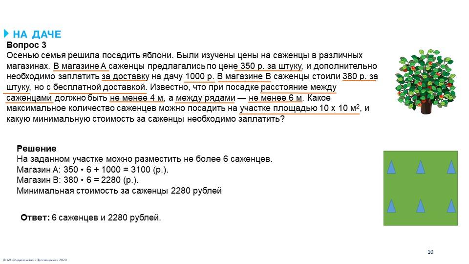 © АО «Издательство «Просвещение» 202010Вопрос 3Осенью семья решила посадить...