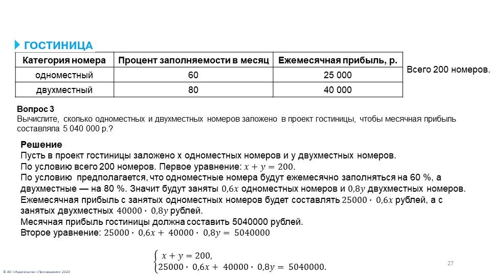 Всего 200 номеров.Вопрос 3Вычислите, сколько одноместных и двухместных номер...
