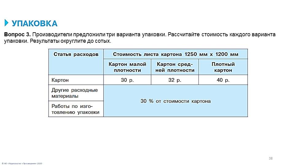 38© АО «Издательство «Просвещение» 2020Вопрос 3. Производители предложили три...