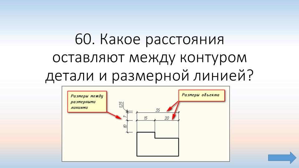 60. Какое расстояния оставляют между контуром детали и размерной линией?