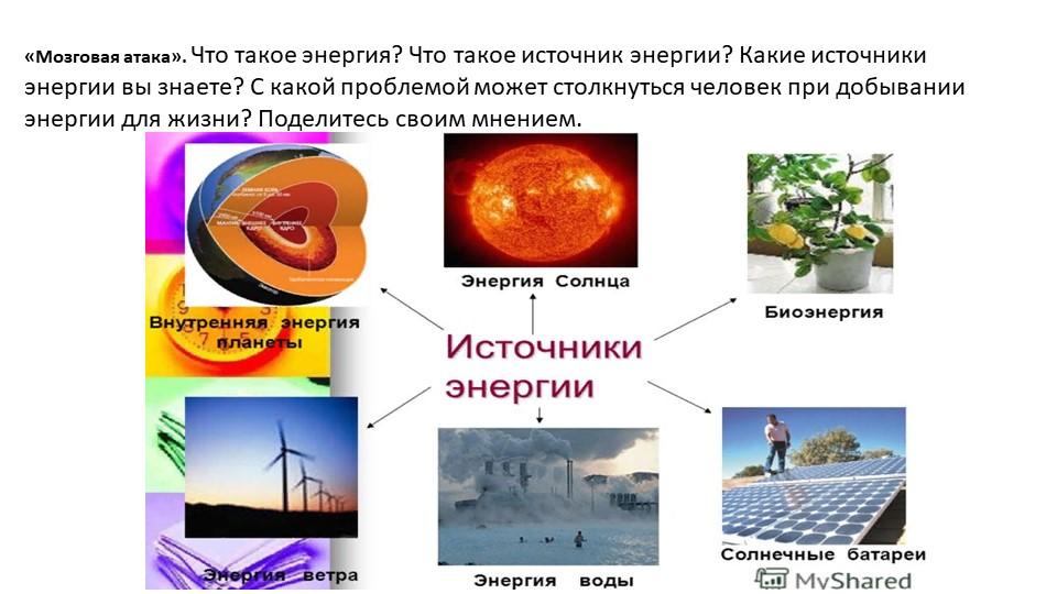 «Мозговая атака». Что такое энергия? Что такое источник энергии? Какие источн...