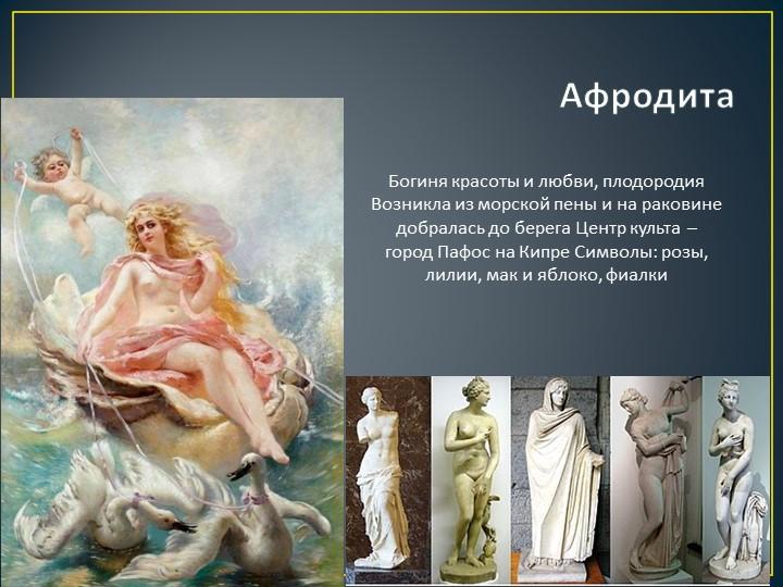 АфродитаБогиня красоты и любви, плодородия Возникла из морской пены и на рако...