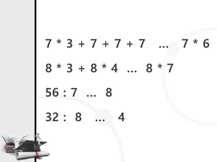 7 * 3 + 7 + 7 + 7   …   7 * 68 * 3 + 8 * 4  …  8 * 7 56 : 7  …  832 :  8...
