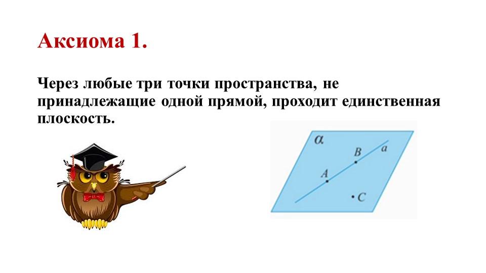 Аксиома 1.Через любые три точки пространства, не принадлежащие одной прямой,...