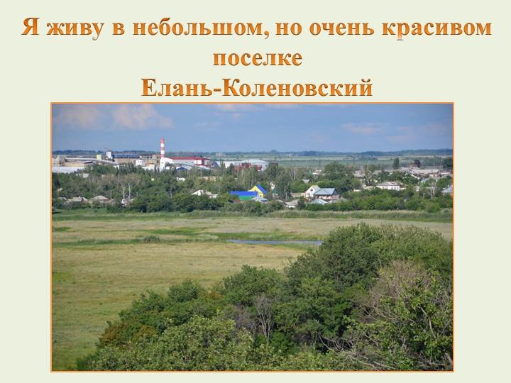 Я живу в небольшом, но очень красивом поселке Елань-Коленовский