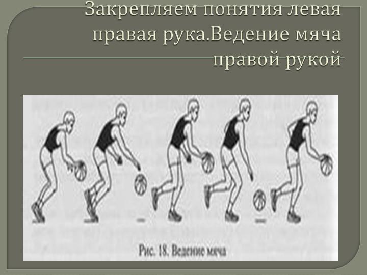 Закрепляем понятия левая правая рука.Ведение мяча правой рукой