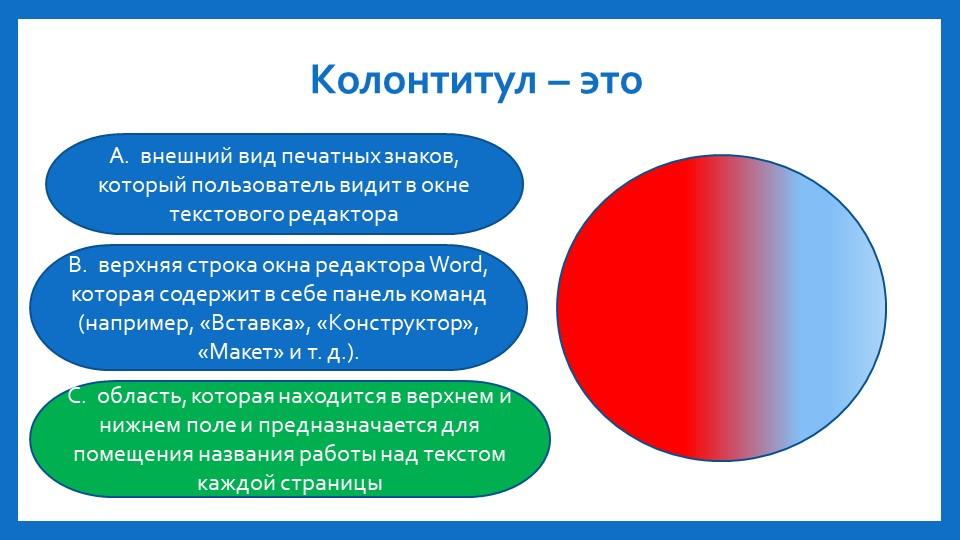 Колонтитул – этоA. внешний вид печатных знаков, который пользователь видит в...