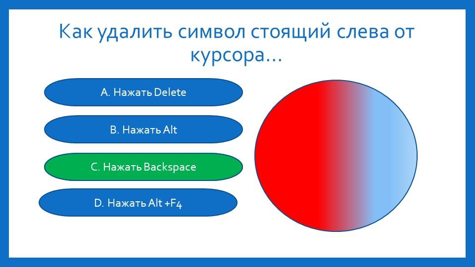 Как удалить символ стоящий слева от курсора...А. Нажать DeleteB. Нажать AltC....