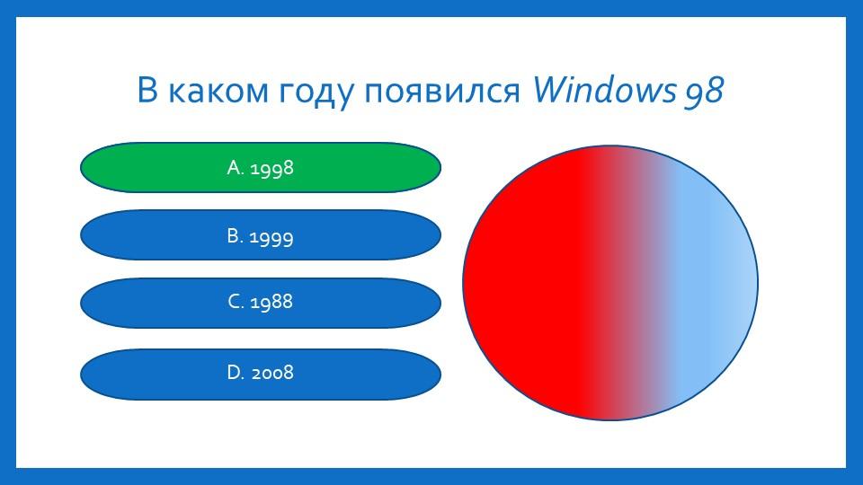 В каком году появился Windows 98 А. 1998B. 1999C. 1988D. 2008А. 1998